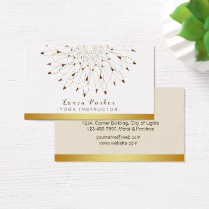Classic Mandala Yoga Instructor Lotus Floral Business Card - classic gifts gift ideas diy custom unique