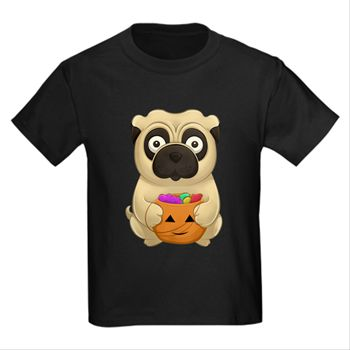 A Pug Halloween Kid's Dark T-Shirt from cafepress store: AG Painted Brush T-Shirts. #Halloween #pug #pumpkin #kids #tshirt