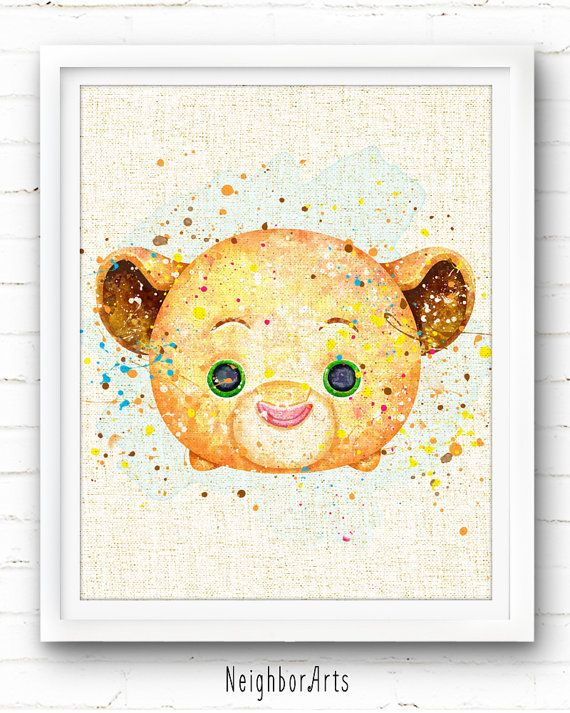 Lion King Nala Art Print, Tsum Tsum Fabric Print, Disney Watercolor Painting, Nursery Decor, Kids Decor, Home Wall Decor, Baby Gift, NA442