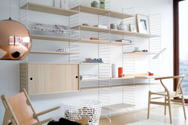 'Wishbone' chair and 'String' shelving system.