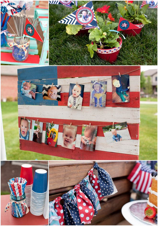 Red White Blue Patriotic First Birthday Party