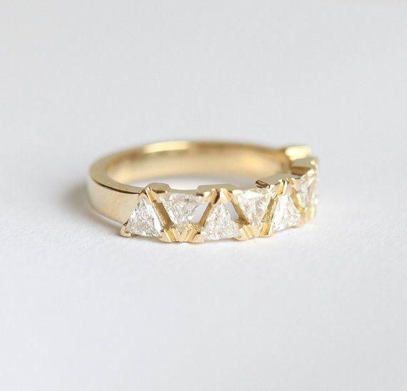 Diamond Wedding Ring Diamond Wedding Band Triangle Diamond