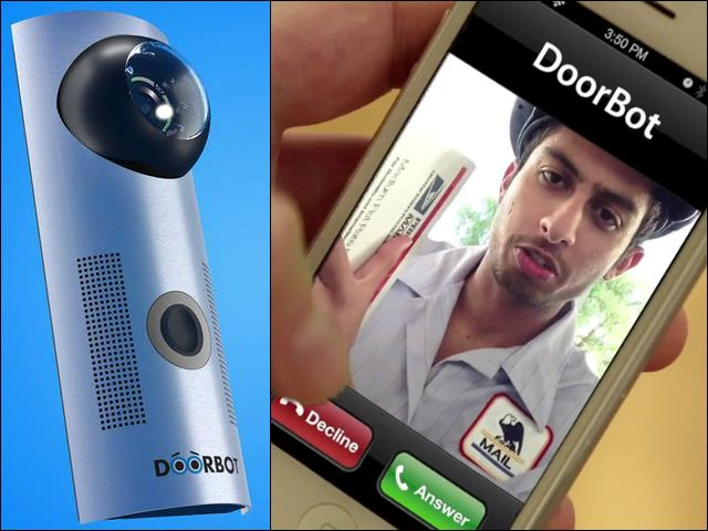 DoorBot is a WiFi-enabled video doorbell that allows you to see and speak with visitors through your smartphone from anywhere in the world. GetdatGadget.com/doorbot-answers-door-youre-away/