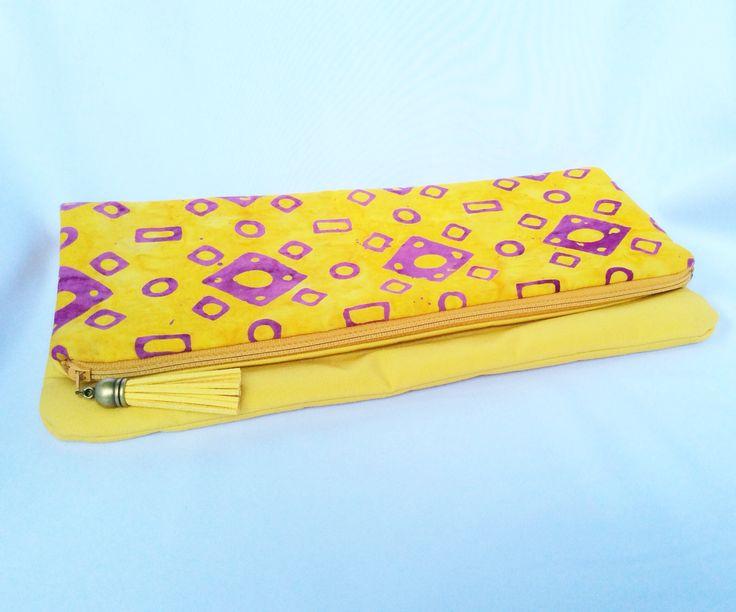 Yellow batik design Foldover clutch