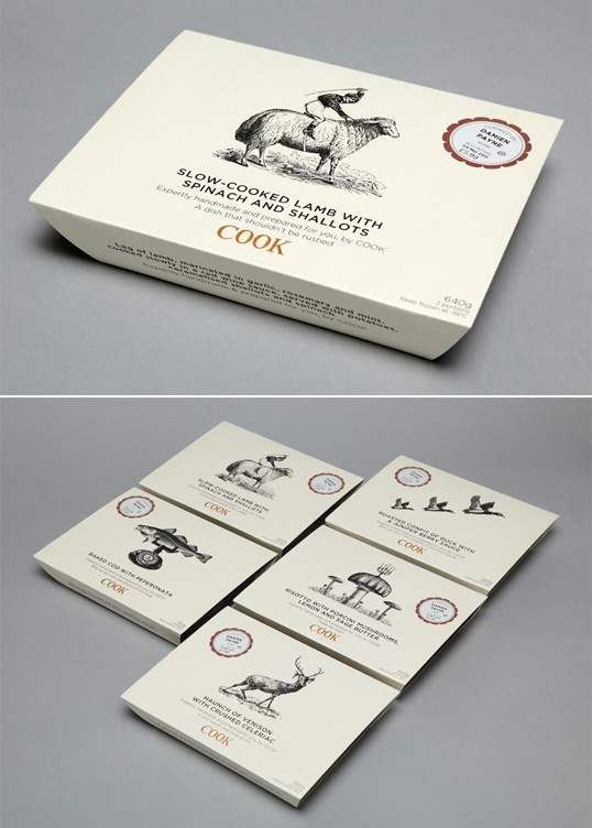 COOK (prepared meals), combination of wood cut illustrations and clever copy; by designer Emma Morton