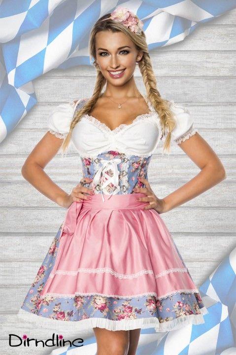 Zuckersüßes #Dirndl Set bestehend aus Kleid, Dirndlbluse und der schicken Schürze. Mehr braucht man wirklich nicht! https://www.burlesque-dessous.de/themen/sexy-dirndl/dirndl/dirndl-set-in-blau/rosa/weiss