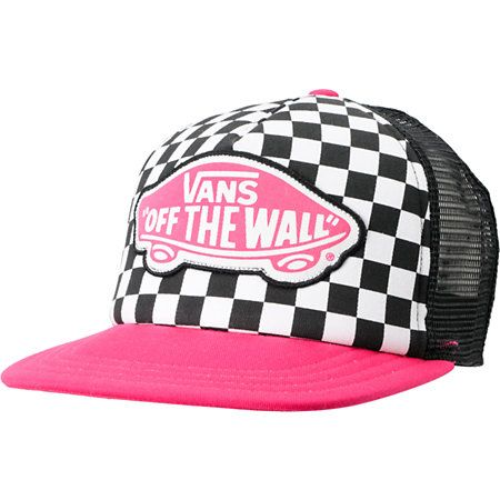 pink and black vans off the wall hat