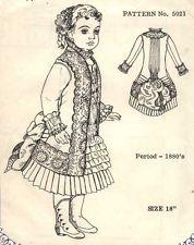 """18"""" старинный французский Брю DOLL@1880's турнюр платье узор/Jumeau-немецкий ребенок"""