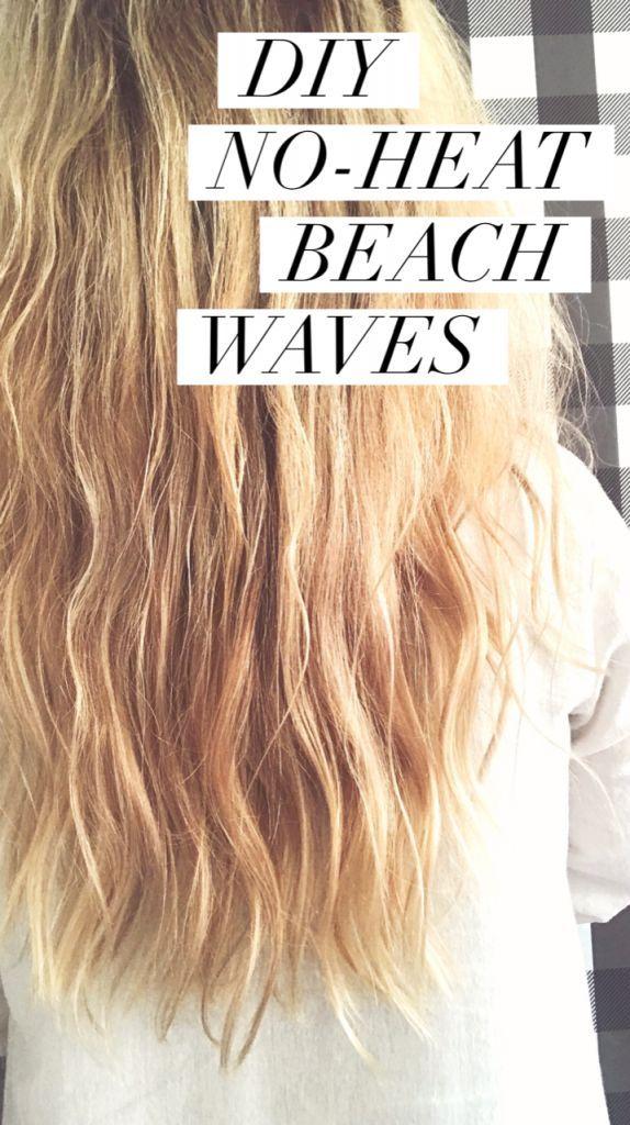 Diy No Heat Beach Waves With All Natural Hair Products No Heat Beach Waves Beach Waves Hair Tutorial Beach Waves Long Hair