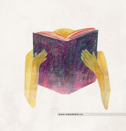 Me encanta la textura conseguida en esta Ilustración de Olga de Dios para la campaña de Cruz Roja sobre el fomento de la lectura.   Técnica: Ceras y tratamiento digital.  Participará en Encuentrazos 2014 de la Escuela de Arte de Zaragoza.