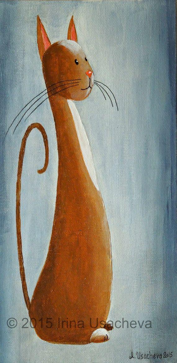 Original Painting for Sale Musing Cat acrylic by NaturelandsAndCo