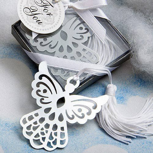 Celebrate your loved one's baptism, first communion, or confirmation with these silver angel bookmark favors.