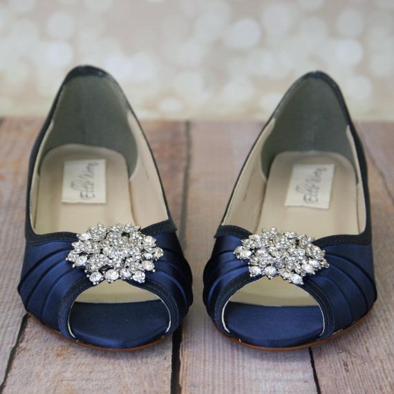 Wedding Shoes -- Navy Blue Peeptoe Wedge Wedding Shoes with Classic Rhinestone…