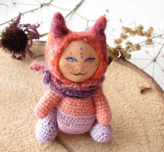 Toy cat- Knit Toy - Soft cat - Cat from another planet