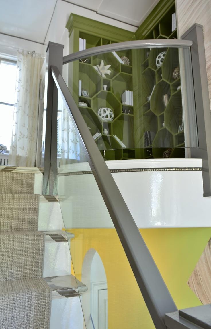 Glass railing up to attic. Maintain open, airy feeling.     Bridget Beari Designs, Richmond Symphony Designer House 2012