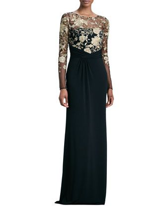 Love, love love.  Long-Sleeve Lace-Overlay Gown by David Meister at Neiman Marcus. Black with gold overlay. The lace detail is gorgeous.