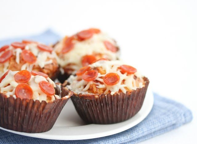 I'll have to do this when the kid has friends over. Pizza Muffins