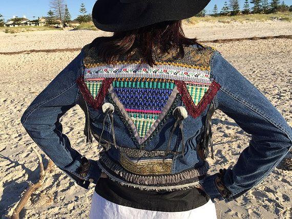 Denim jacket, bohemian hippie Ladies sequin snake embellished jacket, Hobo, ethnic  cotton denim.  Up-cycled and made in Australia