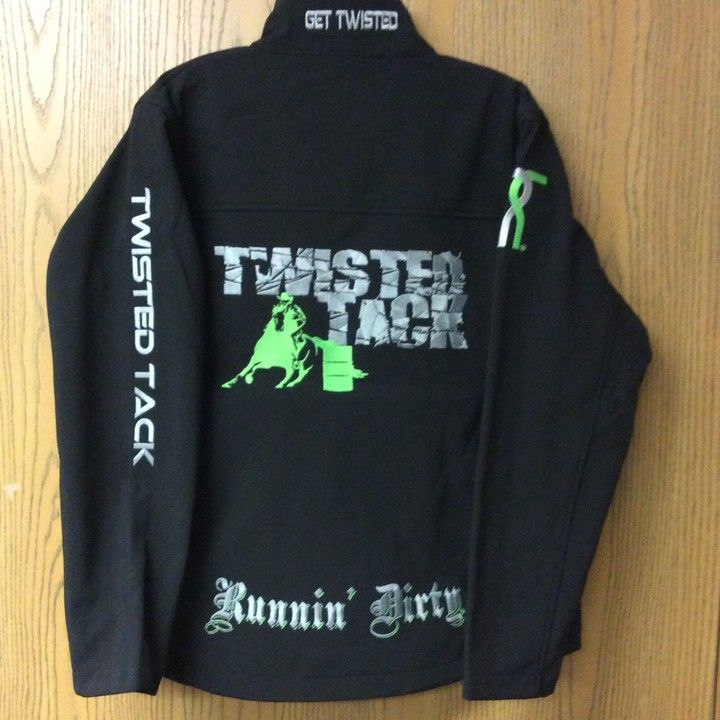 WOMENS LARGE TWISTED TACK ORIGINAL SOFT SHELL DIRTY JACKET - BARREL RACING SILVER/LIME ON BLACK from Twisted Tack for $150.00