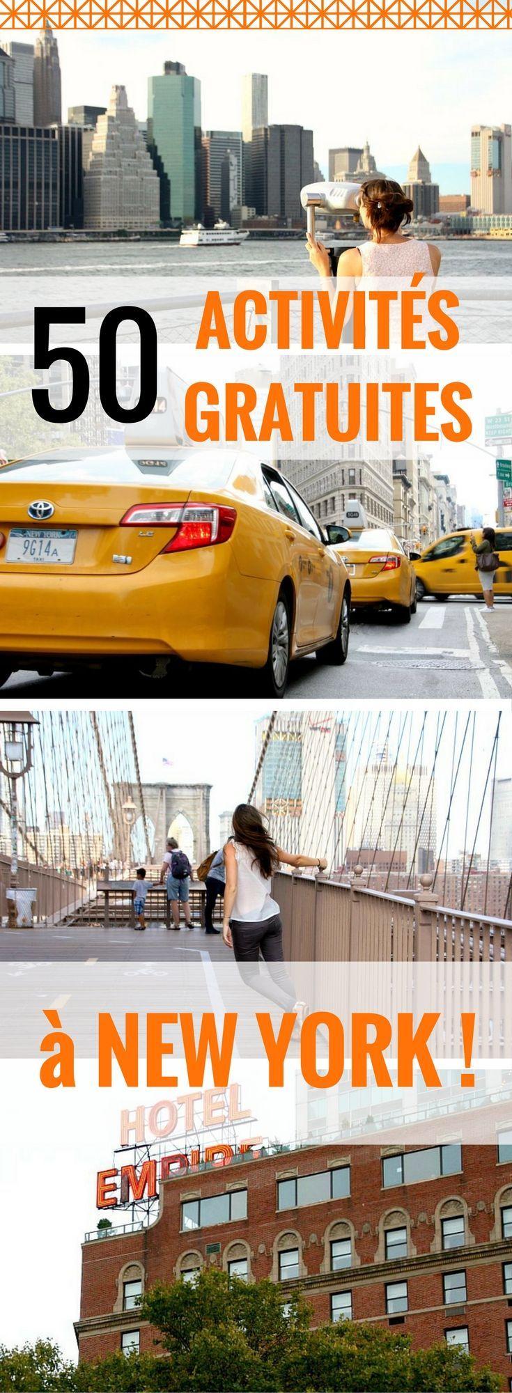 New York fait partie des destinations qui font rêver la plupart des gens, mais beaucoup moins le porte-monnaie… J'ai pu profiter de New York pendant trois semaines.  Et j'ai réussi à respecter mon petit budget ! Comment ? En profitant de toutes les activités gratuites à New York. Voici donc le guide ultime de 50 activités gratuites à New York à faire absolument !  | voyage à New York | partir à New York | New York pas cher | astuces New York | city trip New York | New York budget