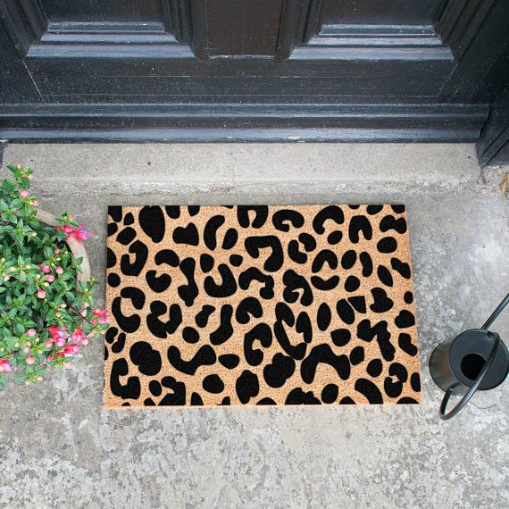 Leopard Print doormat. Indoor & outdoor doormat hand sprayed in the UK. Every one of our mats are hand sprayed in the UK. All Artsy Doormats are crafted from a high quality tufted coconut fibre which is perfect for those muddy boots! - Made with a non-slip PVC backing - Natural coir