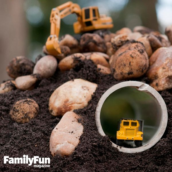 Create truck tunnels in sandboxes, dirt mounds, or rock walls by burying lengths of PVC pipe (ours are 3-inch-diameter).