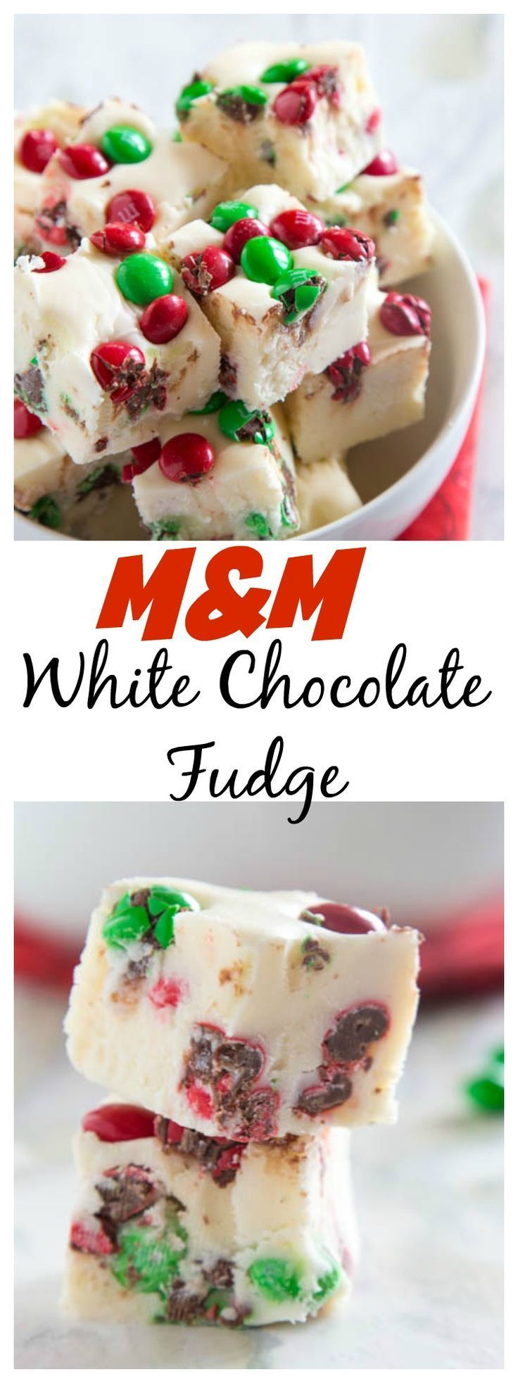 M&M White Chocolate Fudge – Easy sweet white chocolate fudge with lots of festive M&M's #bakeitforward