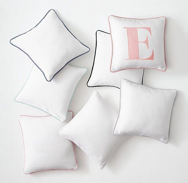 Velvet Piped Linen-Cotton Pillow Cover - Appliquéd Letter