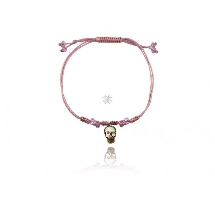 Βραχιόλι ασημένιο νεκροκεφαλή με φίλντισι και ζιργκόν #bracelet #silver #pearl #fashion #woman