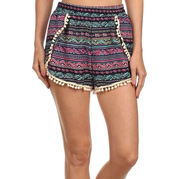 Aztec Tribal Pattern Pom Pom Shorts Size XLarge Aztec tribal pattern shorts with Pom Pom trim, elastic waist, 100% polyester, size XL .  No Trades, Price Firm unless Bundled.  BUNDLE 3 OR MORE ITEMS FOR 15 % OFF. Boutique Shorts