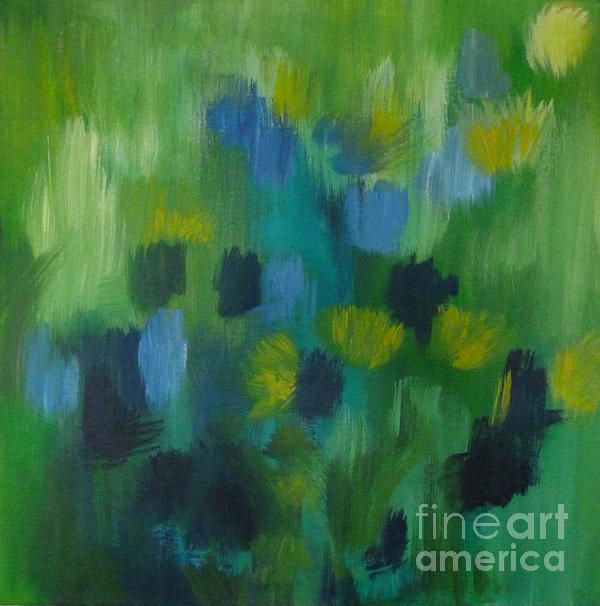 Seedtime Green is an abstract floral painting on canvas by Julia Underwood and Jewells Art.