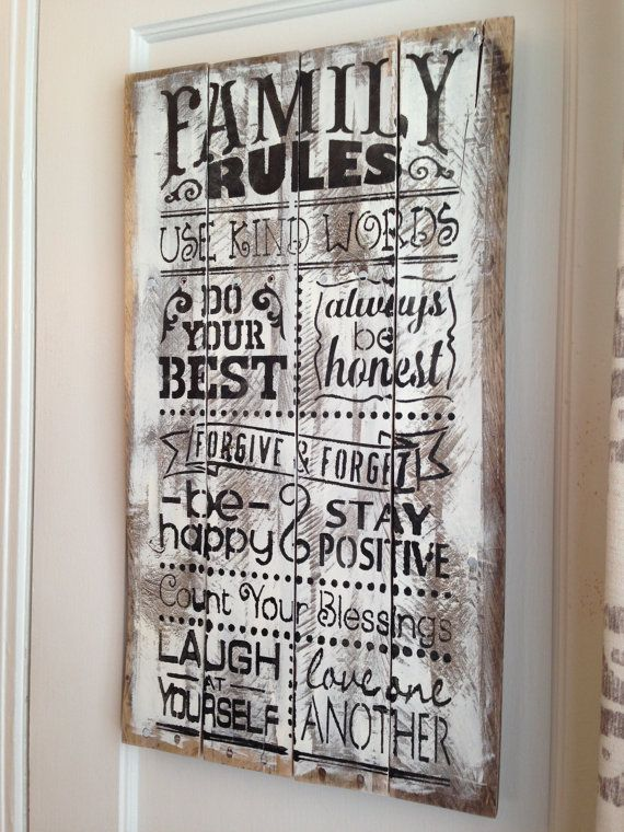 Rustic White Washed Distressed Family Rules Subway Wall