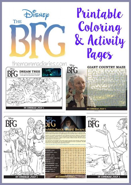 The BFG Printable Coloring Pages and Activity Pages, The BFG, The BFG Activities, Disney Printable