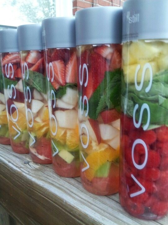 Delicious VOSS fruit water by Chef Charles Make sure to add mint - in a snap easy to prepare and use all week.