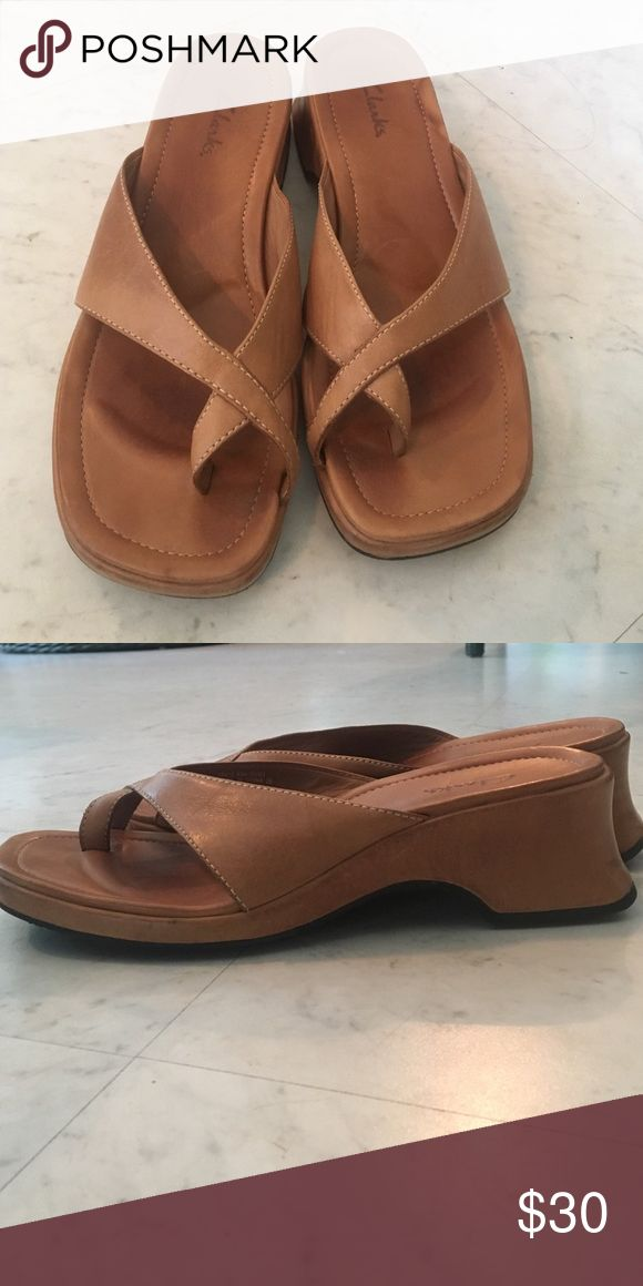 Clarks leather heeled sandals Clarks leather heeled around-the-toe sandals. Lightly worn. Very comfortable Clarks Shoes Sandals