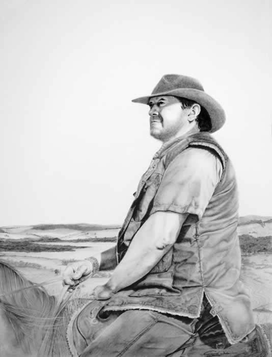 Australian Artist Cindy Wider s  pencil & charcoal titled  King of the land .