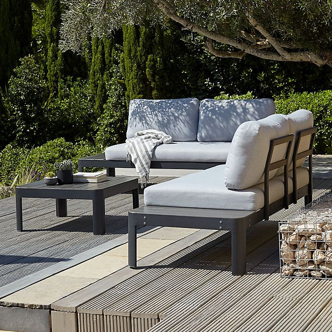 Amorio Metal 4 Seater Coffee Set With Images Garden Furniture Sets Outdoor Sectional Sofa Seater