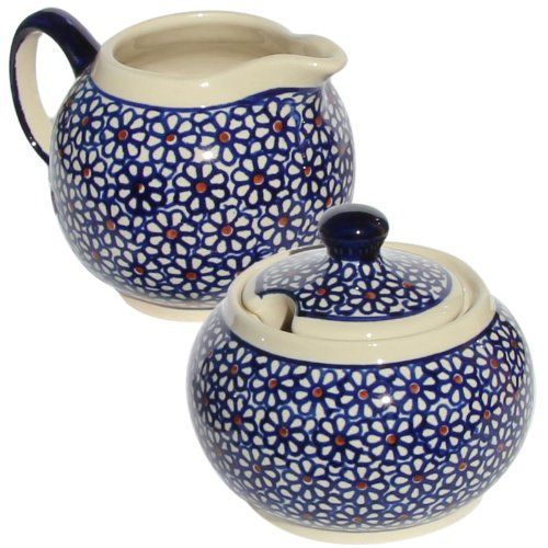 Polish Pottery Sugar Bowl and Creamer From Zaklady Ceramiczne Boleslawiec…