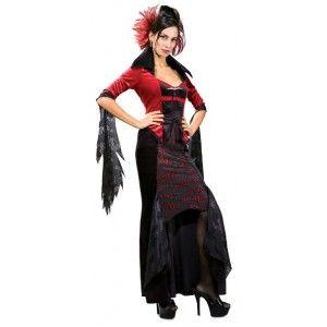 Déguisement Gothique Warlock Mistress Femme, bal des vampires, Halloween, fêtes.