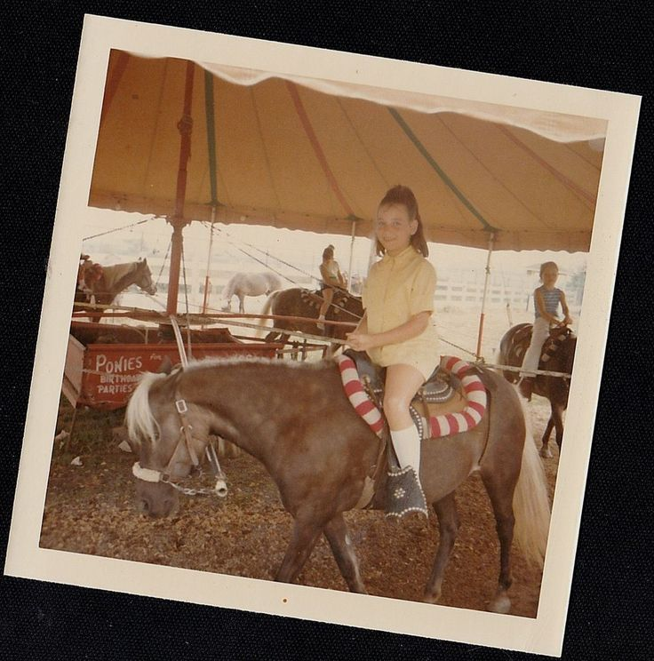 Old Vintage Photograph Little Girl Riding on Pony / Horse At Pony Rides 1969