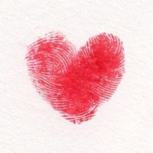 Kort med hjerte lavet med min finger!!!?