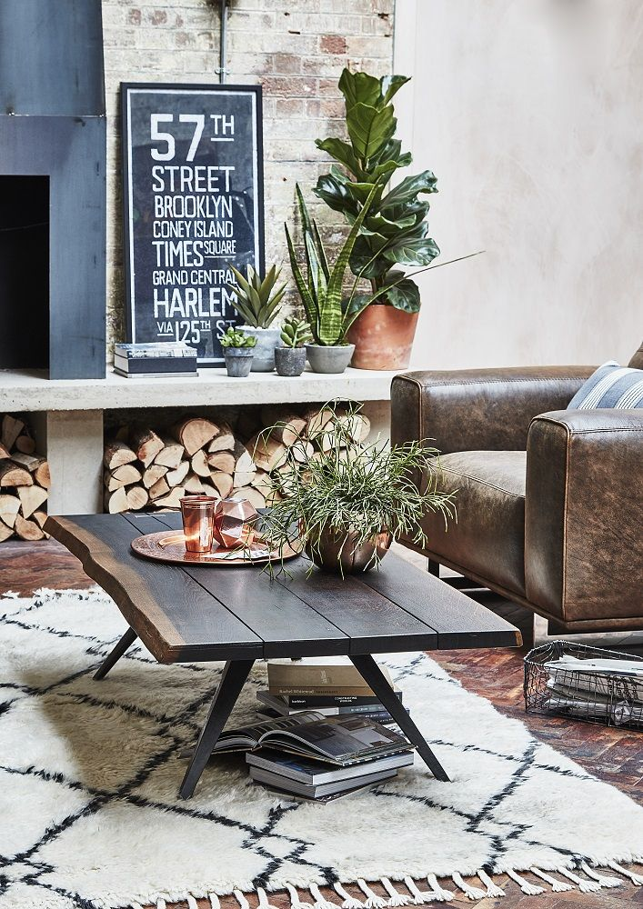 Add an urban edge to your home with the Reclaim Revolution Trend. The Vega Coffee Table features a naturally-shaped hardwood top combined with raw cast iron legs for a character-filled look. Click to shop.