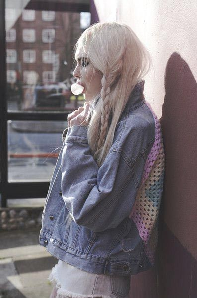 does anyone else feel like this hairstyle doesn't actually look great from the front? oh well looks beaut here [platinum hair braids denim jacket bubblegum soft grunge]                                                                                                                                                      More