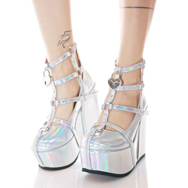 Demonia Neo Romance Holographic Wedges ($95) ❤ liked on Polyvore featuring shoes, sandals, wedge shoes, silver platform sandals, strap sandals, cage sandals and wedge heel sandals