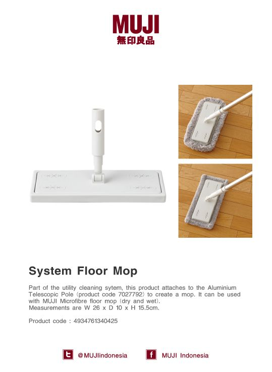 [System Floor Mop] It's a part of the utility cleaning system, attaches to Aluminium Telescopic Pole to create a mop.