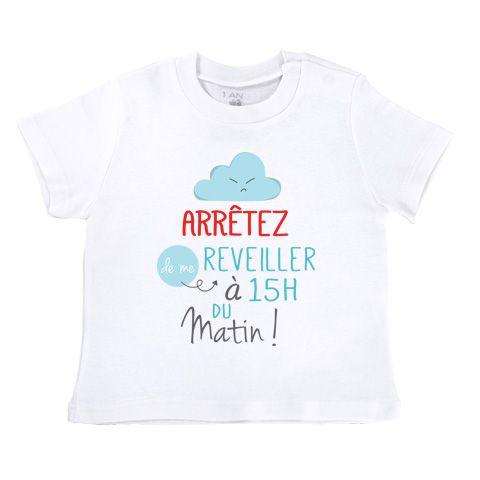 Arrêtez de me réveiller à 15h du matin - T-shirt Enfant manches courtes - Coton - Blanc #tshirt #vêtement #bébé #enfant #geek #cute #mignon