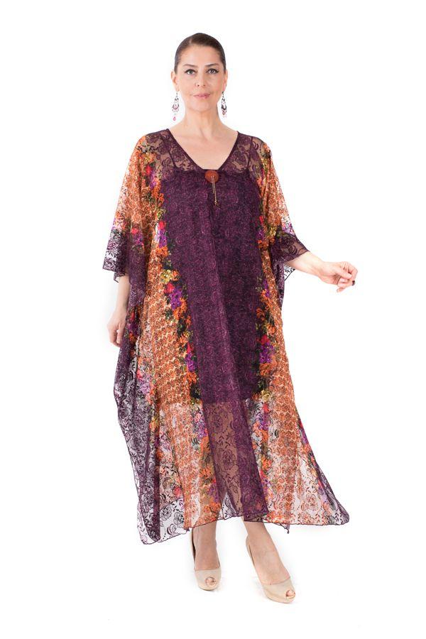 Mor Dantel Abiye Elbise   Payette   bicadde.com #buyukbeden #plussize #moda #elbise #shopping #alisveris Tek parça pareo tarzı abiye elbise ile davette göze çarpın. Mor ve oranj rengi, pamuk dantel kumaşı ve çiçekli detaylar ile bileğinize kadar zarif görünüm.