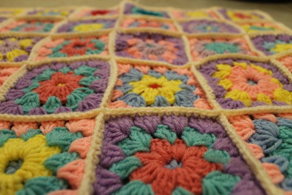 Girl's Pink and Multi-Colored Hand Crocheted Baby Granny Square Afghan  - Baby Blanket - Stroller Blanket - Car Seat Blanket
