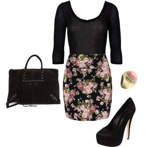 """Floral Print Skirt"" by nmille50 on Polyvore"