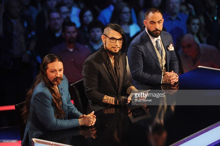 Judges Oliver Peck, Dave Navarro, and Chris Nunez appear on stage during the 'Ink Master' season 7 LIVE finale on May 24, 2016 in New York City.